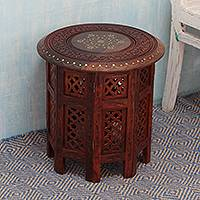 Brass inlaid wood accent table, 'Evening Coffee Time' (small) - Indian Style Brass Inlaid Wood Occasional Table (Small)