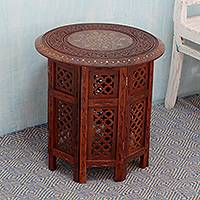 Brass inlaid wood accent table, 'Evening Coffee Time' (large) - Fair Trade Carved Wood Accent Table with Brass Inlay (Large)