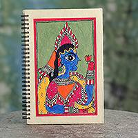 Madhubani journal, 'The Maharajah' - Original Madhubani Folk Art Style Blank Journal from India