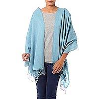 Wool shawl, 'Beguiling Sky' - Artisan Woven Light Sky Blue 100% Wool Shawl