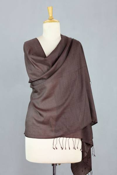 Silk and wool blend shawl, 'Chocolate Smoothie' - Rich Brown Wool and Silk Blend Shawl Handmade in India