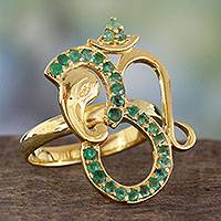 Emerald and gold plated silver cocktail ring, 'Inner Peace' - India Handcrafted Gold Vermeil Ganesha Ring with Emeralds