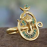 Gold vermeil emerald cocktail ring, 'Serene Deity' - Emerald Ganesha Ring Handcrafted in 18k Gold Vermeil