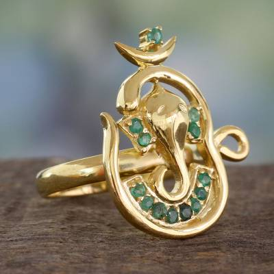 Emerald Ganesha Ring Handcrafted in 18k Gold Vermeil