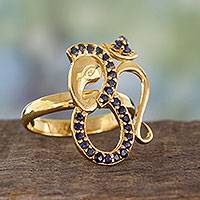 Sapphire and gold plated silver cocktail ring, 'Inner Peace' - India Handcrafted Gold Vermeil Ganesha Ring with Sapphire