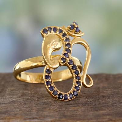 India Handcrafted Gold Vermeil Ganesha Ring with Sapphire
