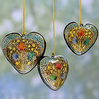 Papier mache ornaments, 'Floral Heart' (set of 3) - Hand Painted Indian Papier Mache Heart Ornaments (Set of 3)