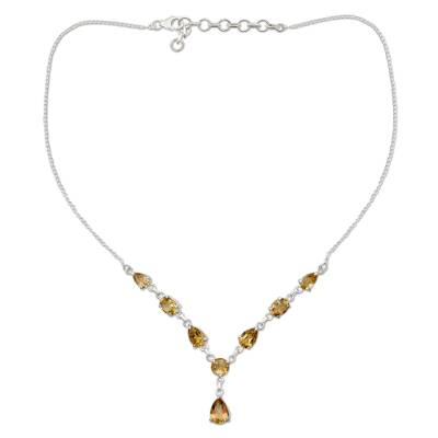 Fair Trade Handmade Citrine and 925 Silver Y Necklace
