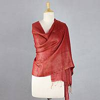 Reversible silk shawl, 'Baghalpur Coral' - Handwoven Reversible Silk Shawl in Coral and Ochre
