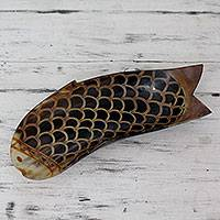 Horn centerpiece, 'Unique Fish' - Artisan Crafted Horn Bowl Centerpiece from India