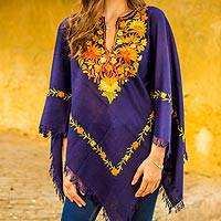 Wool poncho, 'Blue Floral Elegance' - Blue Wool Poncho with Lavish Chain Stitch Floral Embroidery
