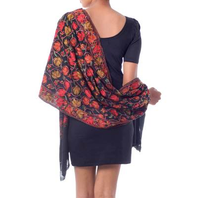 Wool shawl, 'Midnight Mums' - Artisan Made Floral Chain Stitch Embroidery Black Wool Shawl