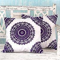 Cotton cushion covers, 'Amethyst Mandalas' (pair) - Embroidered Purple on White Cushion Covers from India (Pair)