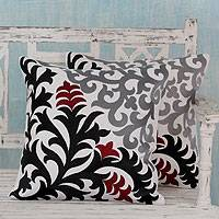 Cotton cushion covers, 'Heliconia Shadow' (pair) - Floral Embroidered Black & White Cotton Cushion Cover Pair