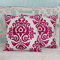 Cotton cushion covers, 'Fuchsia Beauty' (pair) - White and Fuchsia Embroidered Cotton Cushion Covers (Pair)