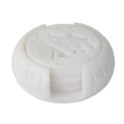 Artisan Crafted White Marble Coasters and Holder (Set of 6)
