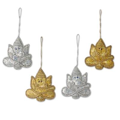 4 Glittery Handmade Ornaments Depicting Lord Ganesha