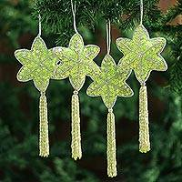 Beaded ornaments, 'Holiday Message' (set of 4)