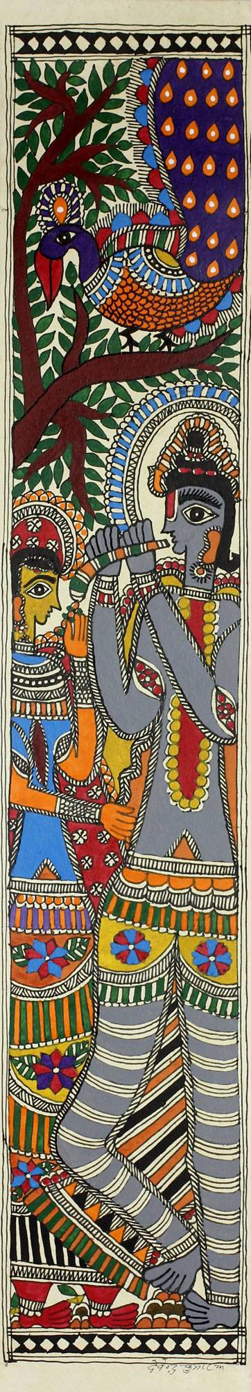 Original Signed Madhubani of Krishna and Radha