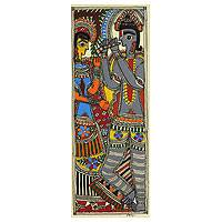 Madhubani painting, 'Celestial Couple III' - Indian Krishna and Radha Madhubani Folk Art Painting