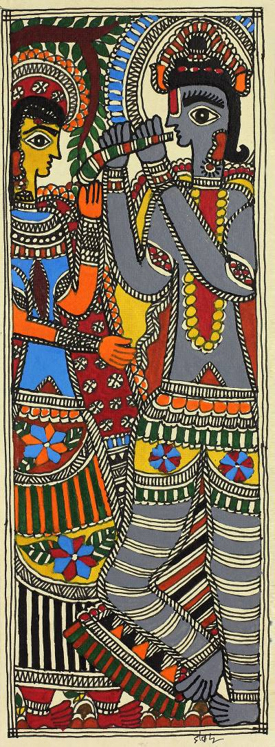 Indian Krishna and Radha Madhubani Folk Art Painting