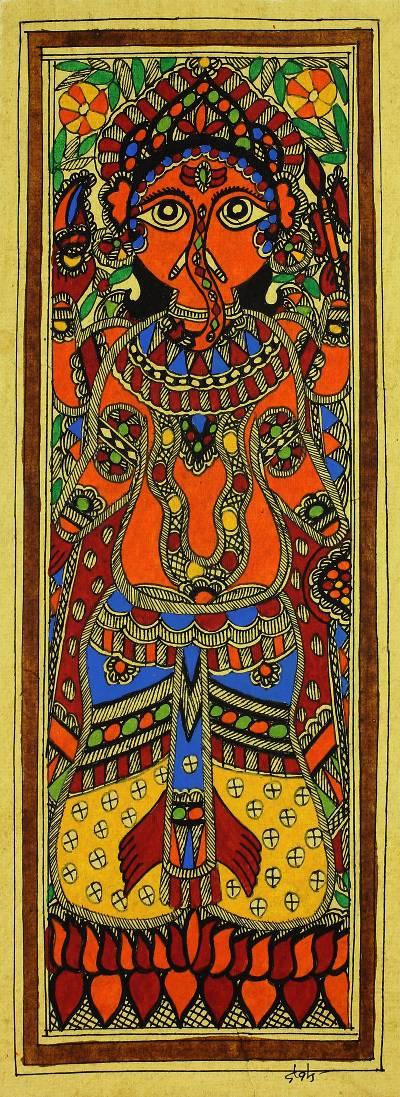 Auspicious Ganesha Indian Madhubani Painting