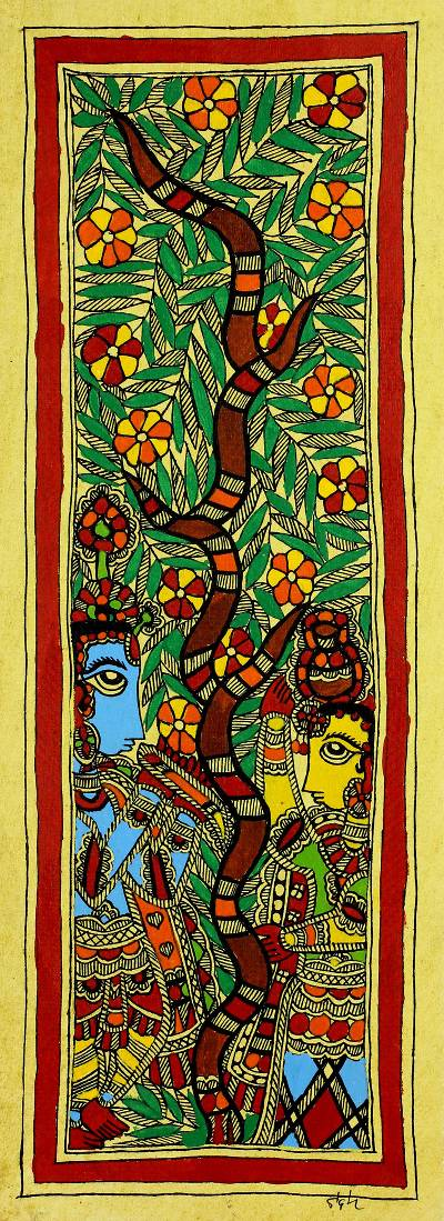 Radha and Krishna Authentic India Madhubani Painting