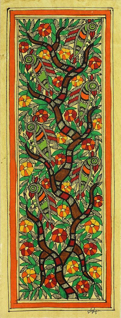Natural Dyes on Handmade Paper Madhubani Signed Painting