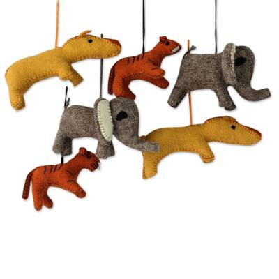 Wool ornaments, 'Cheers from the Wild' (set of 6) - Holiday Ornaments of Stuffed Wool Animals (Set of 6)