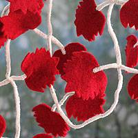 Wool ornament, 'Maple Twist' - Wool Christmas Garland of Red Maple Leaves
