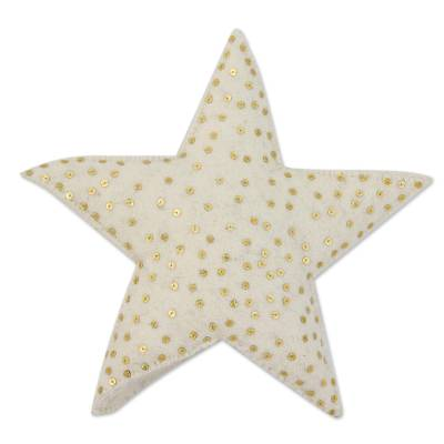 Wool tree top star, 'Message from the Sky' - Star Shaped Christmas Tree Top Ornament with Sequins
