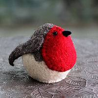 Wool tree top ornament, 'Robin Delight' - Hand Crafted Wool Christmas Tree Top Bird from India