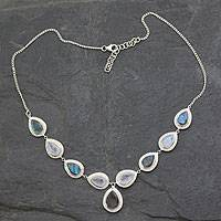 Labradorite and rainbow moonstone Y necklace, 'Goddess' - Labradorite and Rainbow Moonstone Sterling Silver Y Necklace