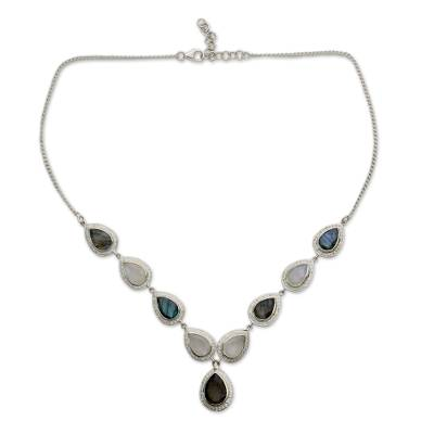 Labradorite and Rainbow Moonstone Sterling Silver Y Necklace