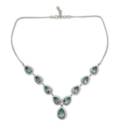 Blue Topaz Sterling Silver Y Necklace with Cubic Zirconia