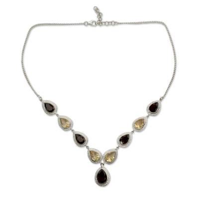 Smoky Quartz and Citrine Sterling Silver Y Necklace