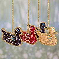 Beaded ornaments, 'Duck Heralds' (set of 4) - Hand-embroidered Holiday Ornaments from India (set of 4)