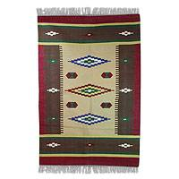 Cotton area rug, 'Indian Diamonds' (4x6) - Hand Loomed Cotton Area Rug with Diamonds 4x6 ft