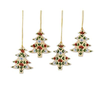 Wood ornaments, 'Floral Pine' (set of 4) - 4 Handcrafted Christmas Tree Ornaments with Flower Motifs