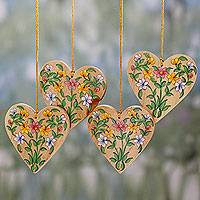 Wood ornaments, 'Holiday Hearts' (set of 4) - 4 Handcrafted Christmas Heart Ornaments with Flower Motifs