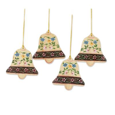 4 Handcrafted Christmas Bell Ornaments with Flower Motifs