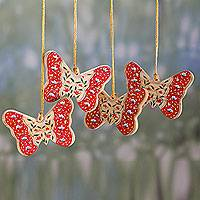 Wood ornaments, 'Holiday Butterfly' (set of 4) - 4 Handcrafted Red/Blue Butterfly Theme Christmas Ornaments