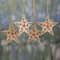 Wood ornaments, 'Star of Bethlehem' (set of 4) - 4 Handcrafted Christmas Star Ornaments with Flower Motifs