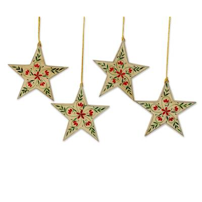 UNICEF Market | 4 Handcrafted Christmas Star Ornaments with Flower ...