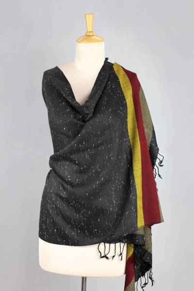 Wool blend shawl, 'Himalaya Night' - Indian Hand Woven Black Speckled Wool Blend Shawl