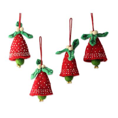 Wool ornaments, 'Red Jingle Bells' (set of 4) - Handmade Red and Green Wool Christmas Ornaments (Set of 4)