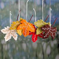 Wool ornaments, 'Maple Glory' (set of 6) - Handcrafted Holiday Leaf Ornaments from India Set of 6
