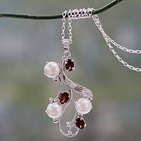 Cultured pearl and garnet pendant necklace 'Dreamy Blossom' - Fair Trade Floral Pearl and Ruby Pendant Necklace
