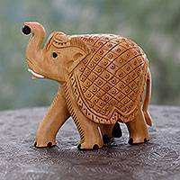 Wood figurine, 'Elephant Pageantry' - Hand Carved Wood Figurine Sculpture from India