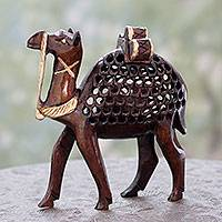 Wood statuette, 'Camel Fortitude' - Artisan Crafted Wood Camel Statuette with Openwork